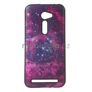 Gélový obal s imitáciou vrúbkované kože na Asus Zenfone 2 ZE500CL -  galaxy - 1