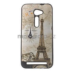 Gélový obal s imitáciou vrúbkované kože na Asus Zenfone 2 ZE500CL - Eiffelova veža - 1
