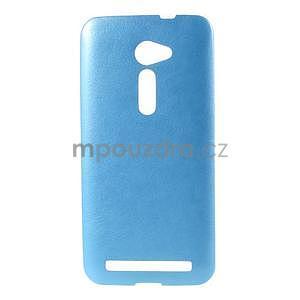 Gélový kryt s imitáciou kože Asus Zenfone 2 ZE500CL - modrý - 1