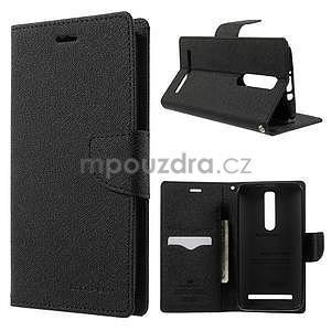 Zapínacie PU kožené puzdro na Asus Zenfone 2 ZE551ML - čierne - 1