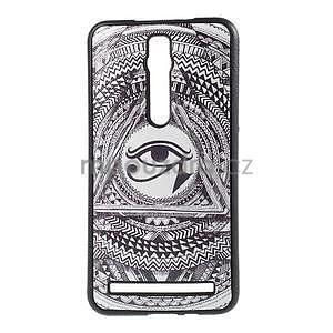 Gélový kryt s imitáciou vrúbkované kože pre Asus Zenfone 2 ZE551ML - egyptské oko - 1