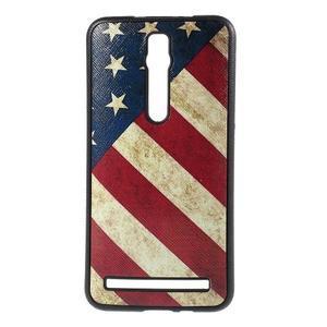 Gélový kryt s imitáciou vrúbkované kože pre Asus Zenfone 2 ZE551ML -  vlajka USA - 1