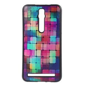 Gélový kryt s imitáciou vrúbkované kože pre Asus Zenfone 2 ZE551ML -  mozaika farieb - 1