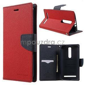 Zapínacie PU kožené puzdro na Asus Zenfone 2 ZE551ML - červené - 1