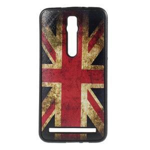 Gélový kryt s imitáciou vrúbkované kože pre Asus Zenfone 2 ZE551ML -   UK vlajka - 1