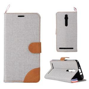 Šedé peňaženkové látkove / PU kožené puzdro pre Asus Zenfone 2 ZE551ML - 1