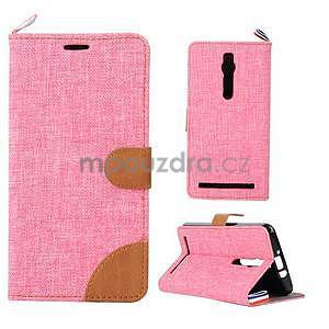Ružové peňaženkové látkove / PU kožené puzdro pre Asus Zenfone 2 ZE551ML - 1