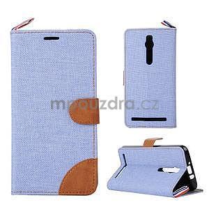 Svetlomodré peňaženkové látkove / PU kožené puzdro pre Asus Zenfone 2 ZE551ML - 1