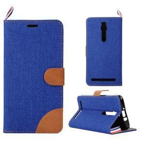 Modré peňaženkové látkove / PU kožené puzdro pre Asus Zenfone 2 ZE551ML - 1