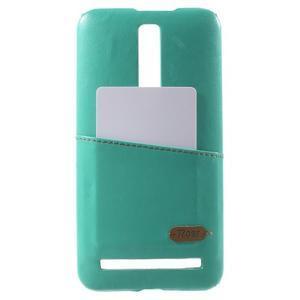Azúrový PU kožený/plastový kryt na Asus Zenfone 2 ZE551ML - 1