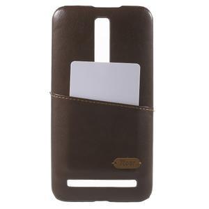 Hnedý PU kožený/plastový kryt pre Asus Zenfone 2 ZE551ML - 1