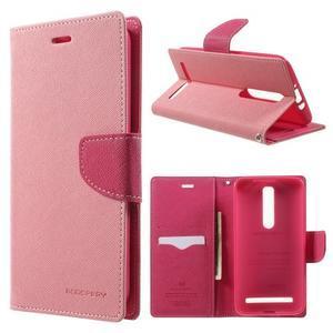 Zapínacie PU kožené puzdro na Asus Zenfone 2 ZE551ML - ružové - 1