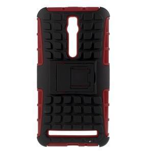 Vysoko odolný gélový kryt so stojanom pre Asus Zenefone 2 ZE551ML - červený - 1