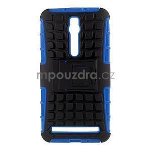 Vysoko odolný gélový kryt so stojanom pre Asus Zenefone 2 ZE551ML - modrý - 1