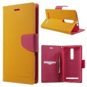Zapínacie PU kožené puzdro na Asus Zenfone 2 ZE551ML - žlté - 1