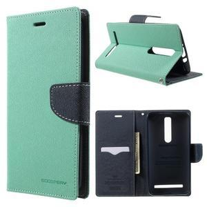 Zapínacie PU kožené puzdro na Asus Zenfone 2 ZE551ML - azúrové - 1