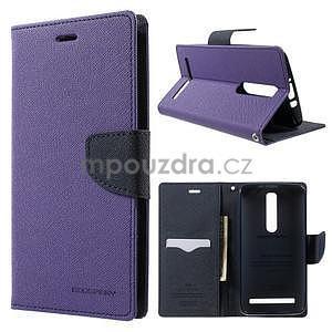 Zapínacie PU kožené puzdro na Asus Zenfone 2 ZE551ML -  fialové - 1