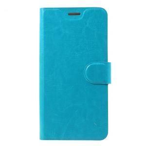 Horse PU kožené zapínacie puzdro na HTC U11 - modré - 1