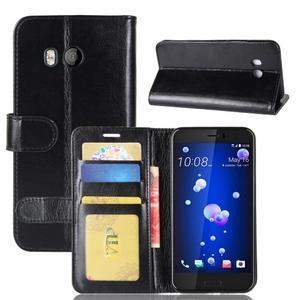 Crazy PU kožené peňaženkové puzdro na mobil HTC U11 - čierne - 1