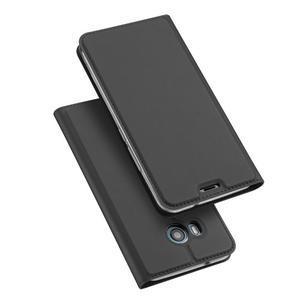 DUX PU kožené klopové puzdro na HTC U11 - šedé - 1