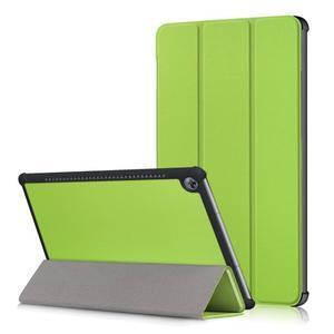 Trifold PU kožené polohovateľné puzdro na Huawei MediaPad M5 10 - zelené - 1