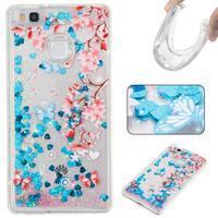 Glitter presýpací gélový obal na mobil Huawei P9 Lite - kvetiny - 1/2