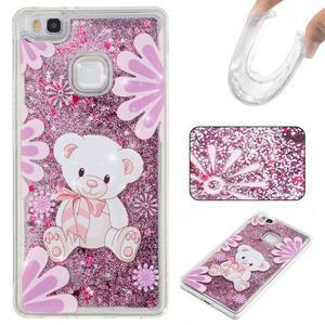 Glitter presýpací gélový obal na mobil Huawei P9 Lite - medvedík - 1