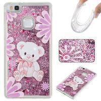 Glitter presýpací gélový obal na mobil Huawei P9 Lite - medvedík - 1/2