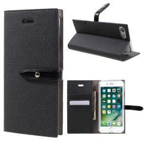 Fashions textilné peňaženkové puzdro pre iPhone 7 a iPhone 8 - čierne - 1