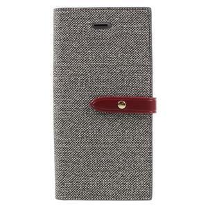 Fashions textilné peňaženkové puzdro pre iPhone 7 a iPhone 8 - sivé - 1