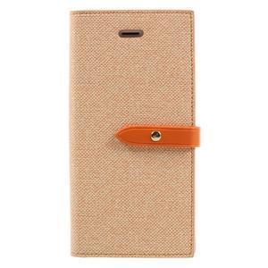 Fashions textilné peňaženkové puzdro pre iPhone 7 a iPhone 8 - oranžové - 1