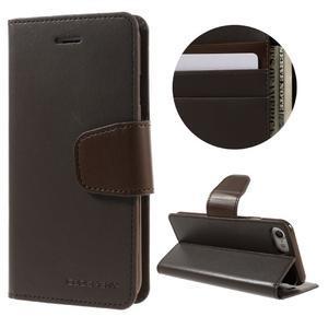 Sonata PU kožené puzdro pre mobil iPhone 8 a iPhone 7 - tmavehnedé - 1