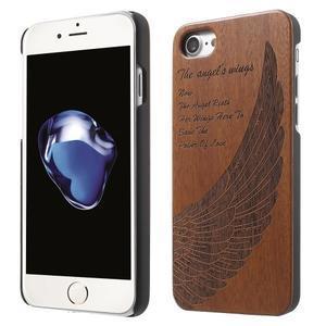 Woody drevený obal s plastovým držaním na iPhone 8 a iPhone 7 - anjelské kridlo - 1