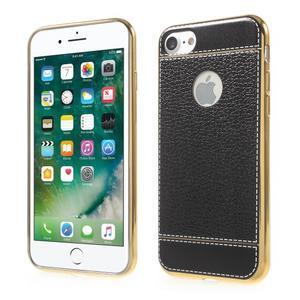 Luxusný gélový obal s PU koženým chrbtom na iPhone 8 a iPhone 7 - čierne - 1