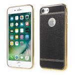 Luxusný gélový obal s PU koženým chrbtom na iPhone 8 a iPhone 7 - čierne - 1/3