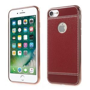 Luxusný gélový obal s PU koženým chrbtom na iPhone 8 a iPhone 7 - červené - 1