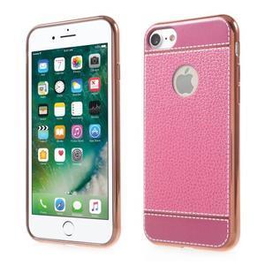Luxusný gélový obal s PU koženým chrbtom na iPhone 8 a iPhone 7 - ružové - 1