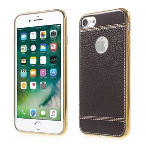 Luxusný gélový obal s PU koženým chrbtom na iPhone 8 a iPhone 7 - tmavehnedé - 1