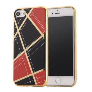 Geometric plastový obal so zlatými lemami na iPhone 8 a iPhone 7 - červené - 1