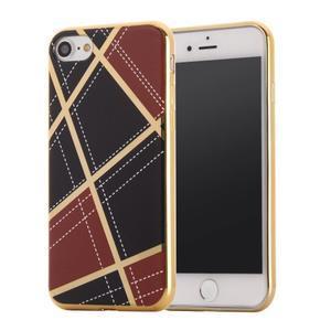 Geometric plastový obal so zlatými lemami na iPhone 8 a iPhone 7 - vínové - 1