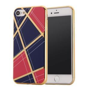 Geometric plastový obal so zlatými lemami na iPhone 8 a iPhone 7 - rose/tmavomodré - 1