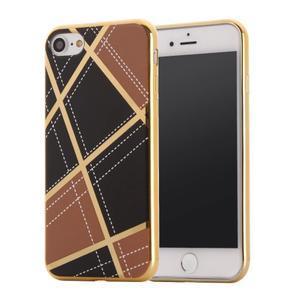 Geometric plastový obal so zlatými lemami na iPhone 8 a iPhone 7 - hnedé - 1