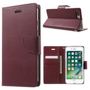DiaryBravo PU kožené puzdro pre mobil iPhone 7 Plus a iPhone 8 Plus - vínové - 1