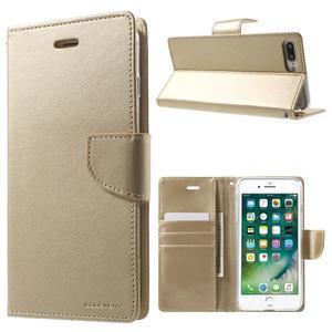 DiaryBravo PU kožené puzdro pre mobil iPhone 7 Plus a iPhone 8 Plus - zlaté - 1
