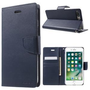 DiaryBravo PU kožené puzdro pre mobil iPhone 7 Plus a iPhone 8 Plus - tmavomodré - 1