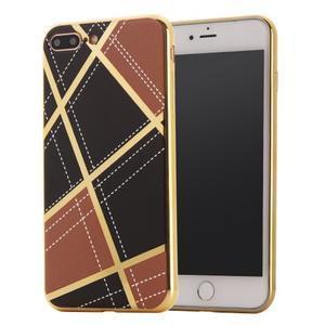 GeometricStyle plastový obal so zlatými lemami na iPhone 8 Plus a iPhone 7 Plus - hnedý - 1