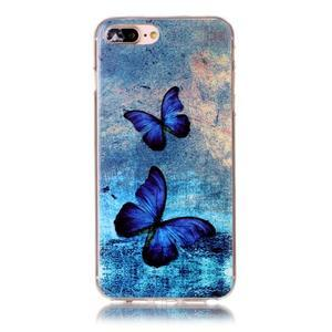 Imope gélový obal pre mobil iPhone 8 Plus a iPhone 7 Plus - modrí motýľe - 1