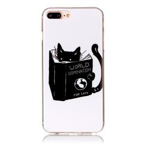 Imope gélový obal pre mobil iPhone 8 Plus a iPhone 7 Plus - mačička čte - 1