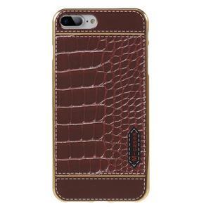 FashionStyle gélový obal s PU koženými chrbtom na iPhone 8 Plus a iPhone 7 Plus - krokodílej kože - 1