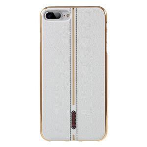FashionStyle gélový obal s PU koženými chrbtom na iPhone 8 Plus a iPhone 7 Plus - white - 1